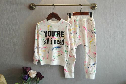 2pcs Child Girls Cotton Sport Outfits Long Sleeve Tops+Pants Kids Printting Sets