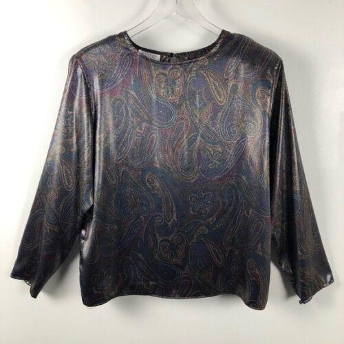 Tess Vintage Metallic Multi-Dot Paisley Blouse Siz
