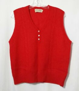 Ll Bean Wool Pullover Sweater Vest V Neck Womens Sz 42 Shetland Red