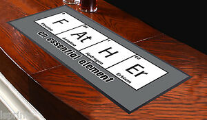 Grey Father Periodic Table Bar Towel Runner Pub Party Mat Beer Cocktail Gift
