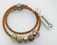 NEW PERSONA BROWN DOUBLE BRACELET WITH 5 CHARMS  RETAIL IS $240.00   75% OFF