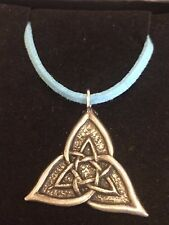 """CELTIC TRIANGLE DR55 Made From Fine English Pewter On a 18"""" Blue Cord Necklace"""