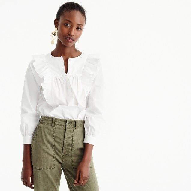 NEW J.CREW Ruffle-Front Shirt Top Blouse Größe 4 Weiß H0063 Sold Out