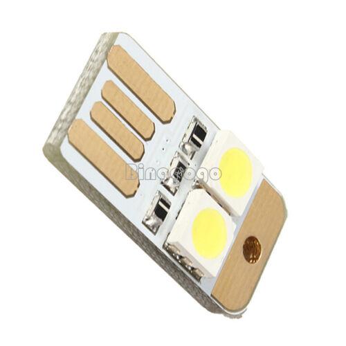 5Pcs Double Sided Pluggable USB LED Night Light Power Supply White Lamp NEW