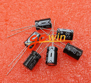 10PCS 220uF 50V Electrolytic Capacitor 105°C 8x12mm