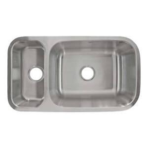32 1 4 X 9 Deep Kitchen Sink Reversible Undermount Stainless Steel Double L204 816124020165 Ebay