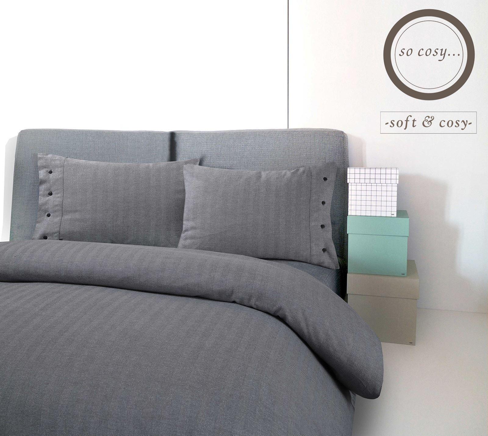 Herringbone Woven grau 100% Brushed Cotton Flannel Flannelette Duvet Cover Set