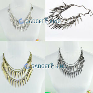 Womens-Chunky-Punk-Silver-Spike-Rivet-Tassel-Chain-Choker-Collar-Bib-Necklace