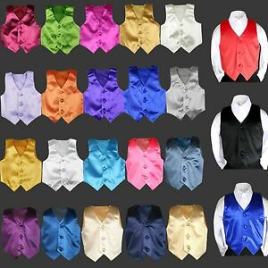 23 color Satin Vest Only Baby Boy Toddler Child for Formal Party Tuxedo Suit S-7