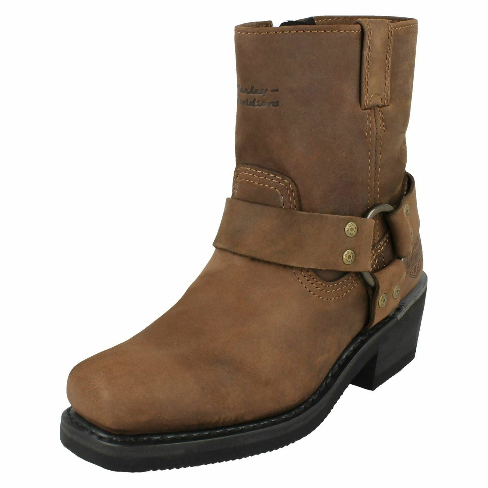 Ladies Brown Leather Harley-Davidson Boots ' Harness Zip '- Great Price!