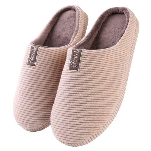 Aerusi Women Men Winter Warm Soft Slip On Slippers Memory Foam Indoor Home Shoes