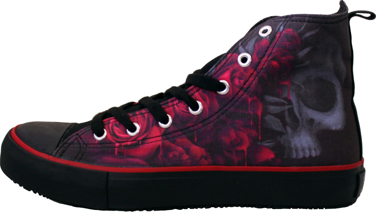 SPIRAL DIRECT Sneakers Ladies High Top Lace up Canvas Shoes/Blood Rose/Skull