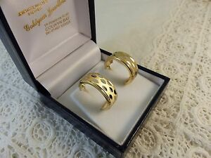9ct-9carat-Yellow-amp-White-Gold-Hoops-Earrings-butterfly-fitting