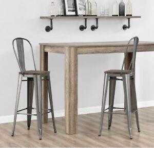 Light Bar Stool Set Of 2 Back 30 Inch Metal Rustic Wood Seat