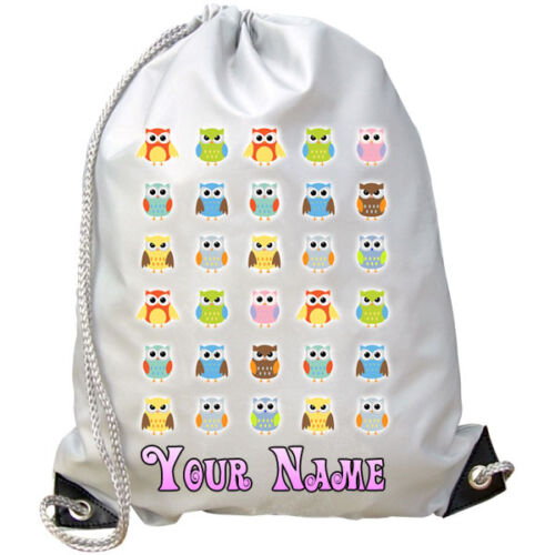 PE BAG OWL DESIGN GIRL/'S PERSONALISED GYM SWIMMING KIDS GIFT /& NAMED TOO !