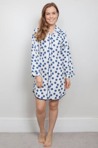 Ladies Womens /'Zoe/' Blue White Spot Nightshirt ~ RRP £29 ~ SIZE 22