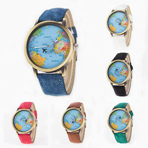 Fashion unisex vintage world map wristwatches by airplane dial image is loading fashion unisex vintage world map wristwatches by airplane gumiabroncs Images