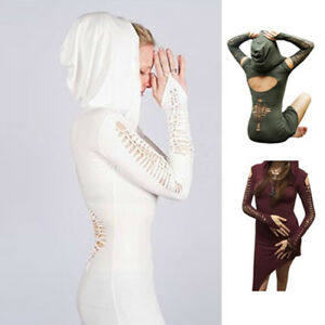 Womens-Sport-Bodycon-Slim-Irregular-Ripped-Clubwear-Hoodies-Tops-T-Shirt-Dress