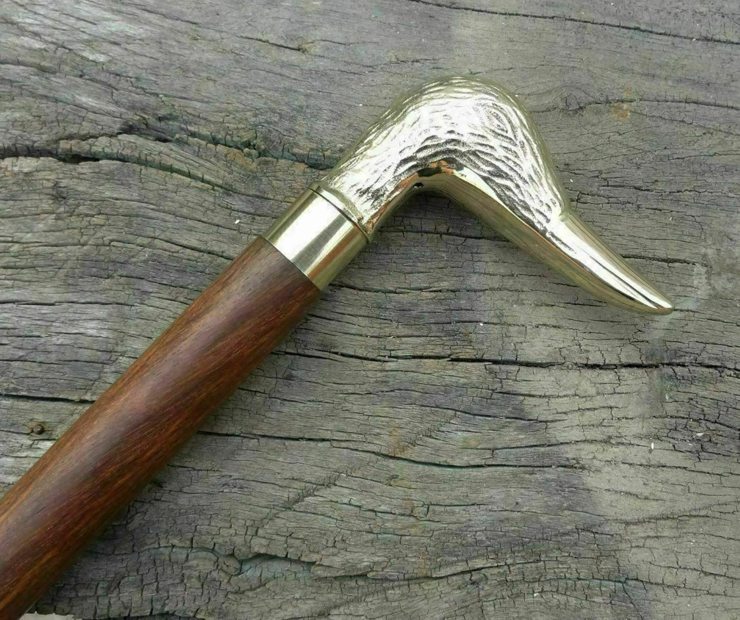 Collectible vintage Solid Brass Duck Head Handle Antique wooden walking stick