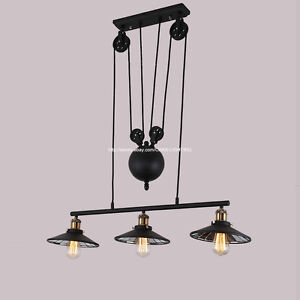 Black 3 arm pulley lift mirror glass chandelier ceiling pendant light lamp ebay - Ceiling fan pulley system ...