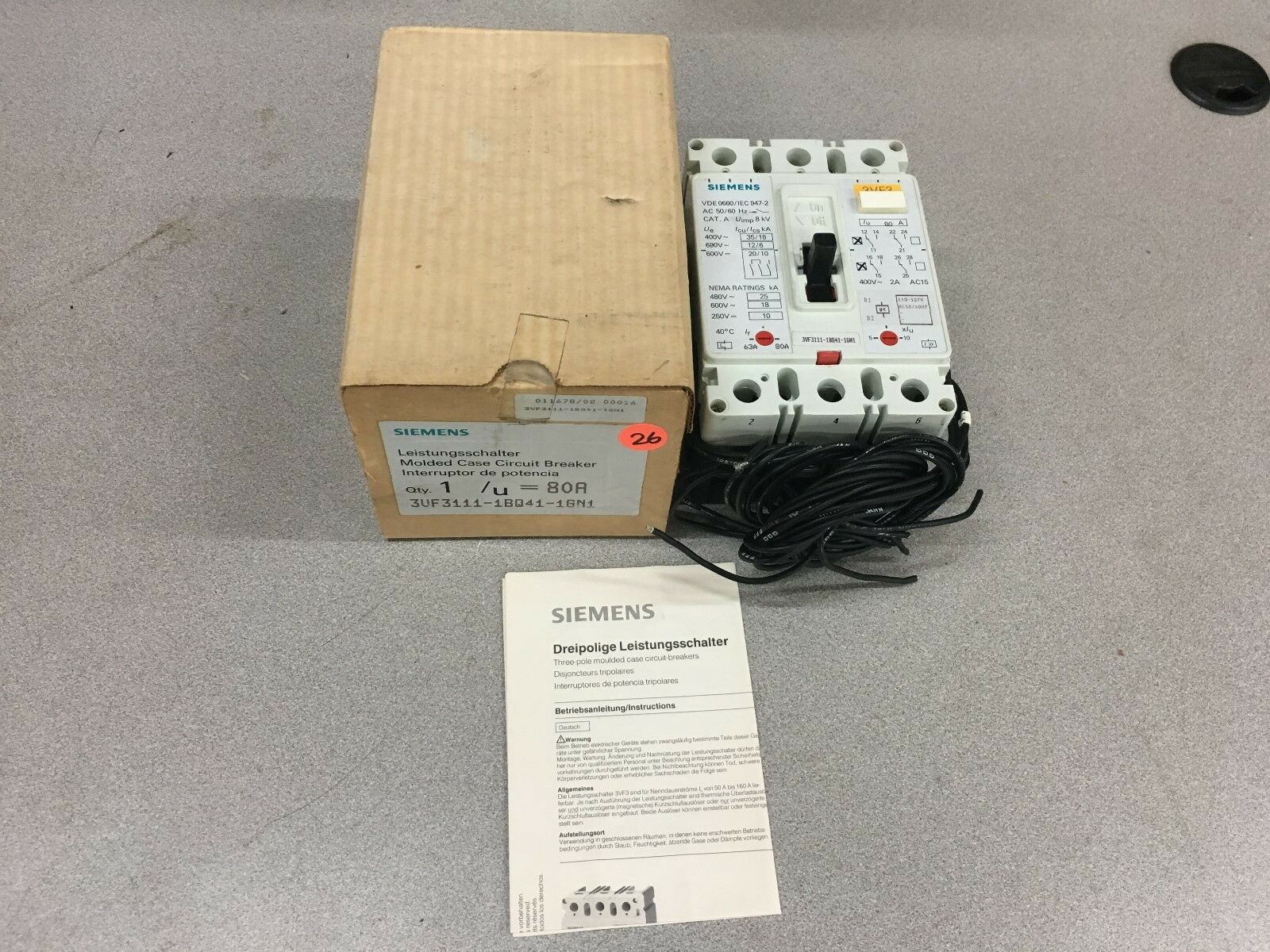 Siemens 3vf3111 1bq41 1gn1 80amp Circuit Breaker 60 Day Tr Ebay Ge Qline 20 Amp 21 4 In Double Pole Gfci Norton Secured Powered By Verisign