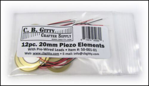 20mm Piezos with leads 12pc drum triggers Cigar box guitar pickups