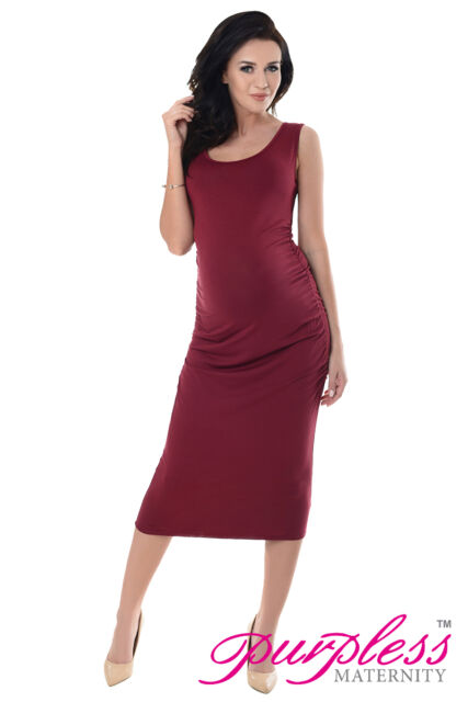 550b2bcd36d914 Purpless Sleeveless Jersey Ruched Pregnancy Maternity Midi Dress ...