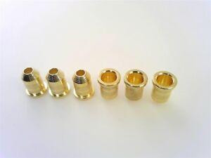FOR FENDER STRAT /& TELE GUITAR 6 GOLD VINTAGE STRING THROUGH BODY FERRULES