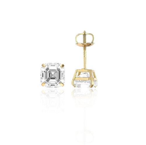 14K Yellow Gold Asscher Cut Stud Earrings Screw Back
