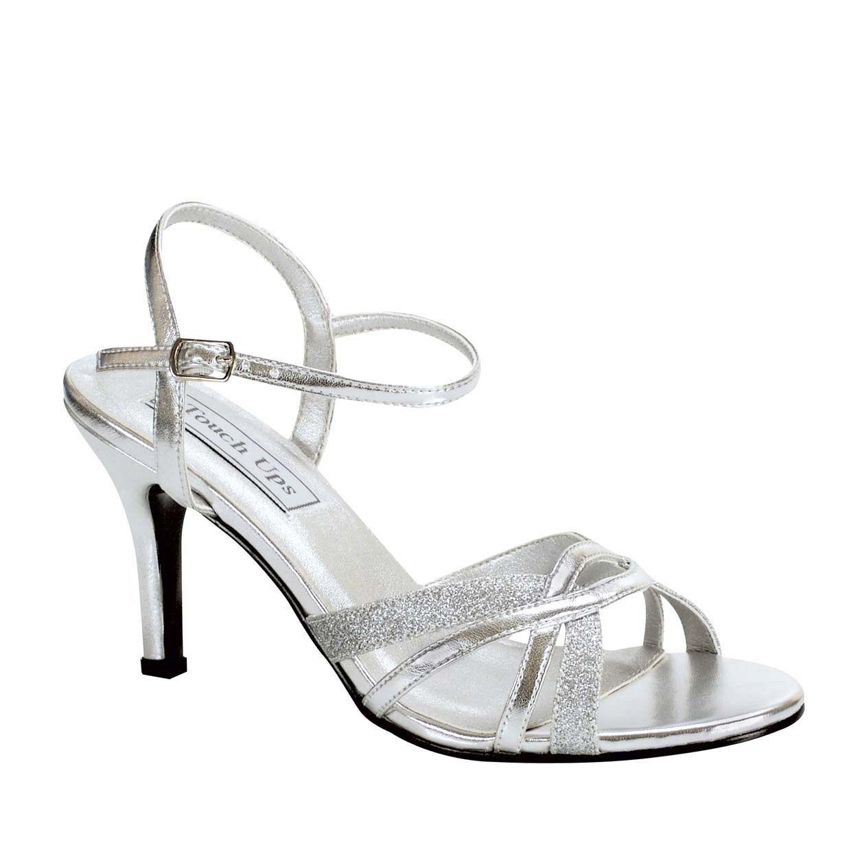 Women's Touch Ups Taryn Mid Heel Sandal Silver Size 9  NC9BW-M36