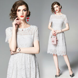 2019-Summer-Runway-Floral-Lace-Crew-Neck-Short-Sleeve-Empire-Waist-Women-Dress