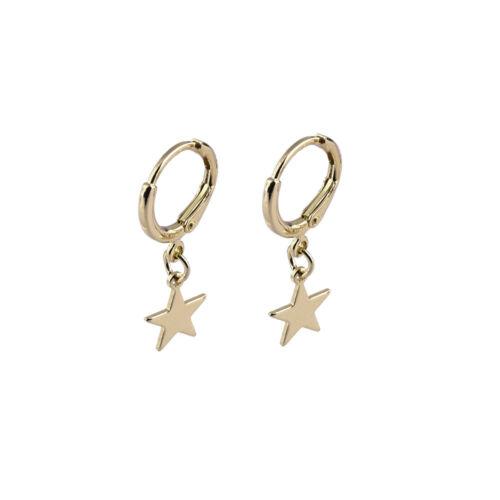Fashion Trendy Gold Color Small Star Hoop Earrings Ear-cuffs Ear Piercing