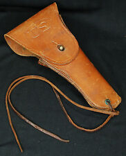 WW2 US Leather Pistol Holster 1911a1 .45 Caliber - 1942 Sears w/Lanyard Brown