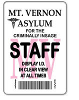 Name Badge Halloween Costume Horror Movie Prop Mt Vernon Asylum Safety Pin Back