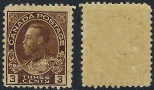 Canada-Scott-108-3c-Brown-King-George-V-Admiral-wet-printing-Gum-Skips-F-NH