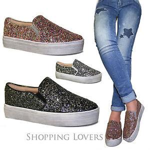 4ca19fd848fb19 SCARPE Donna Sneakers Slip on Mocassini Glitter zeppa 3,5 Passeggio ...