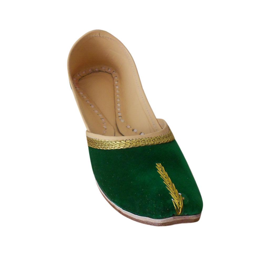 Women shoes Indian Handmade Leather Ballet Flats Green Jutti