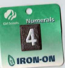 ~#4 Four~Brown Brownie Girl Scouts Troop Number Numeral Badge Patch~NEW
