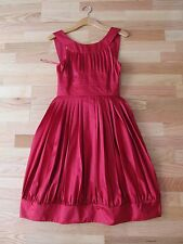 MOSCHINO Designer Pleated Dress 'Raspberry' Silk Blend 4 XS Free Ship NEW $105