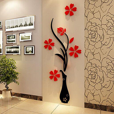 Beautiful 3D Flower DIY Mirror Wall Decals Stickers Art Home Room Vinyl Decor