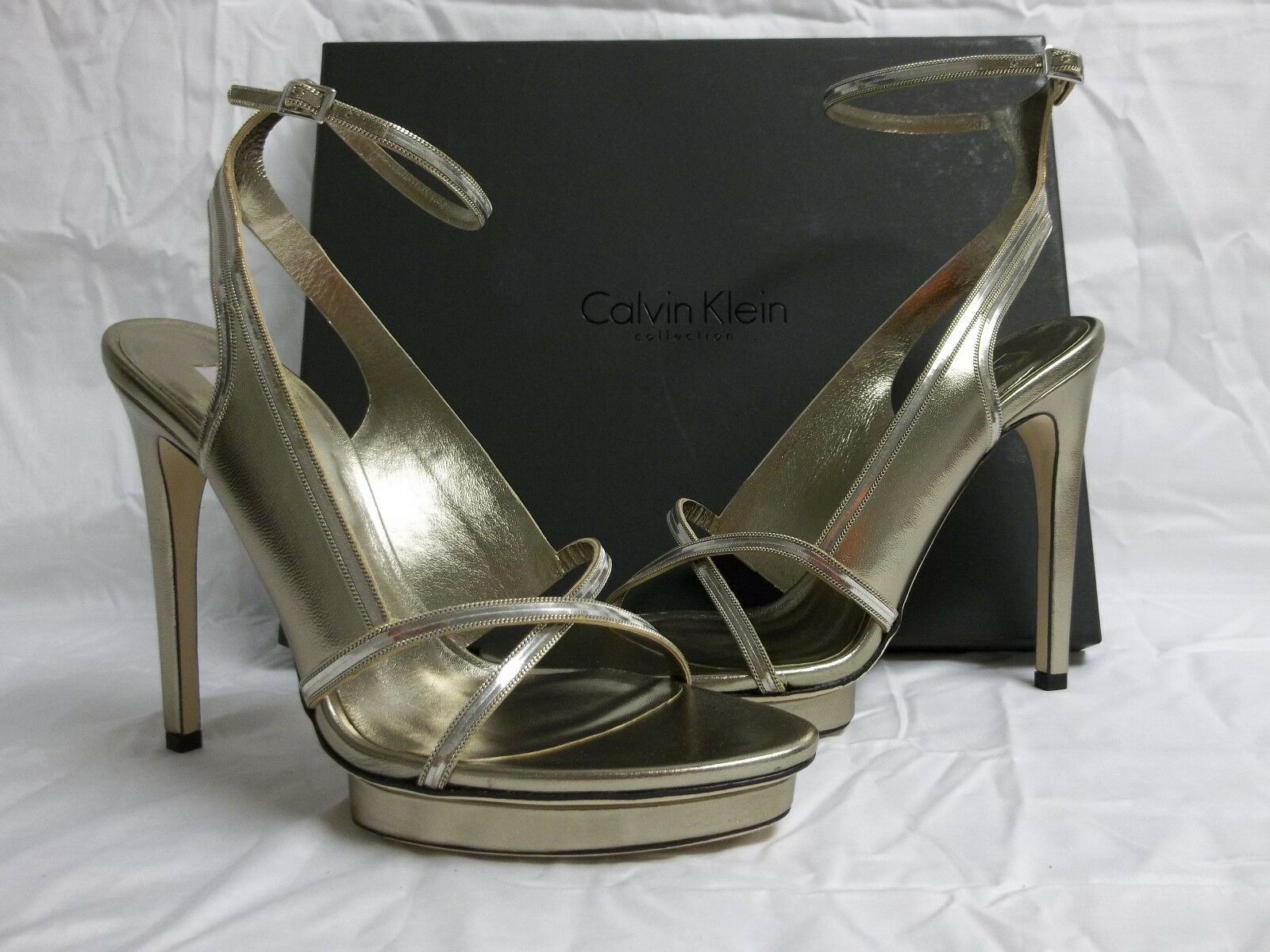 Calvin Klein Heels Collection US 8 Karina Argento Leather Heels Klein New Womens Shoes 93d313