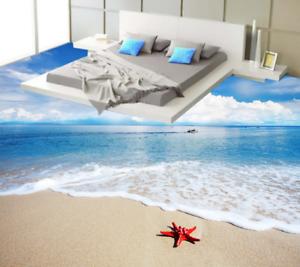 3D bluee Sky Beach 53 Floor WallPaper Murals Wall Print 5D AJ WALLPAPER UK Lemon