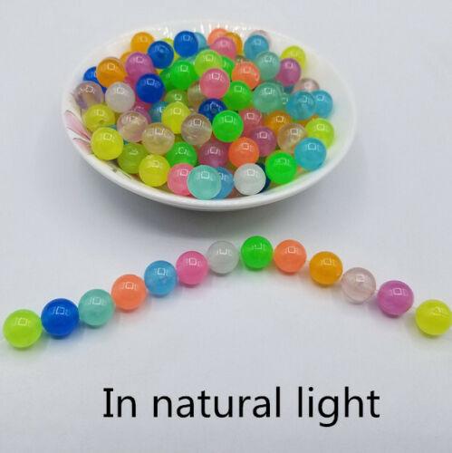 New DIY 6//8//10//12mm Glow In The Dark Loose Beads Acrylic Beads Luminous Beads