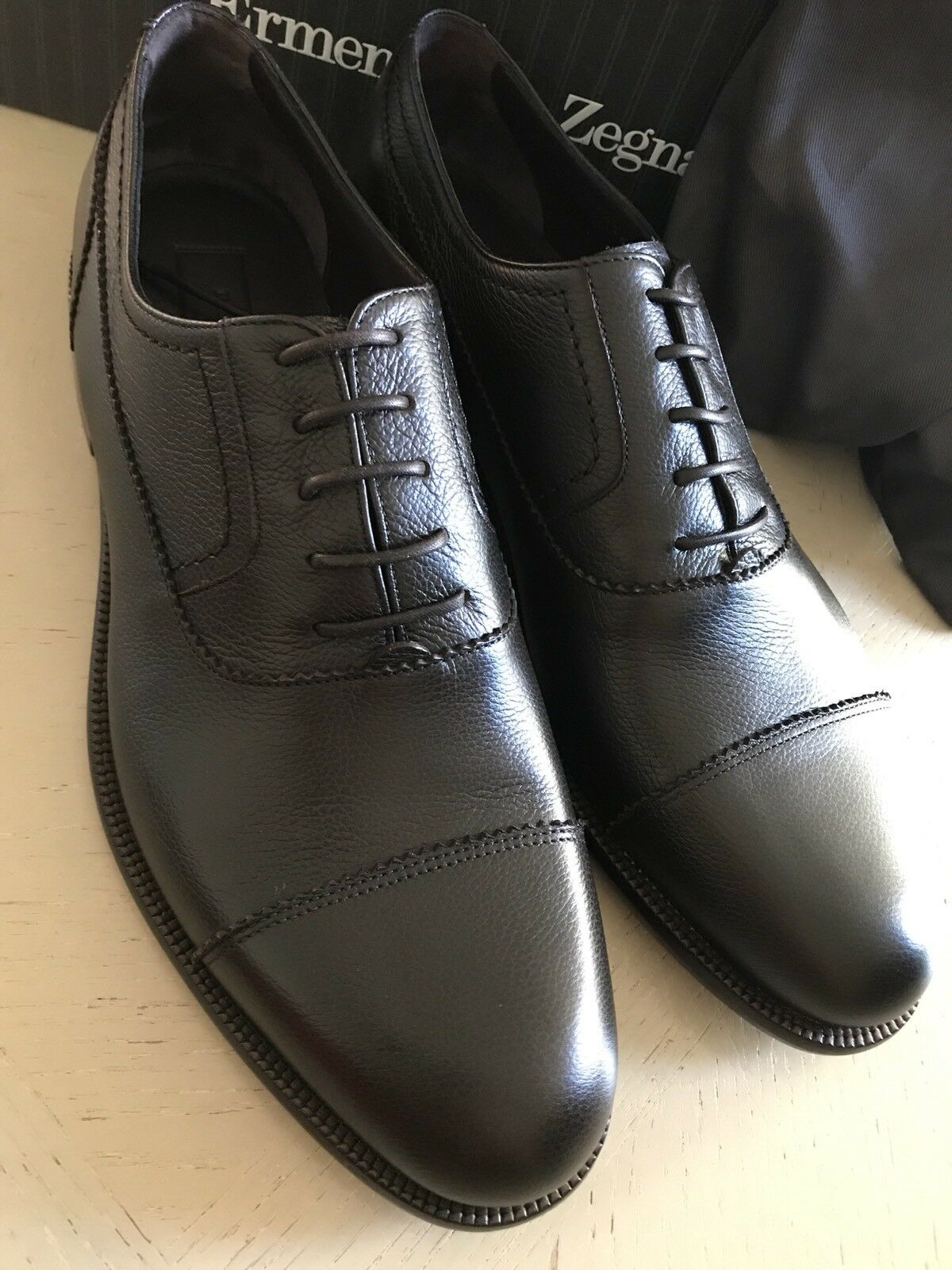 New  695 695 695 Ermenegildo Zegna Oxford Shoes DK Brown 11.5 US ( 44.5 Eu ) Italy 982fff