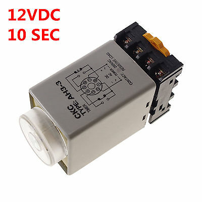 DC/AC12V 3A 0-10s Power On Delay AH3-3 Timer Time Relay With 8Pins Socket Base