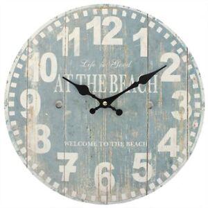"""""""la Vie Est Bonne à La Plage!"""" Bleu Nautique Horloge Mural 34 Cm Large Premium-afficher Le Titre D'origine"""