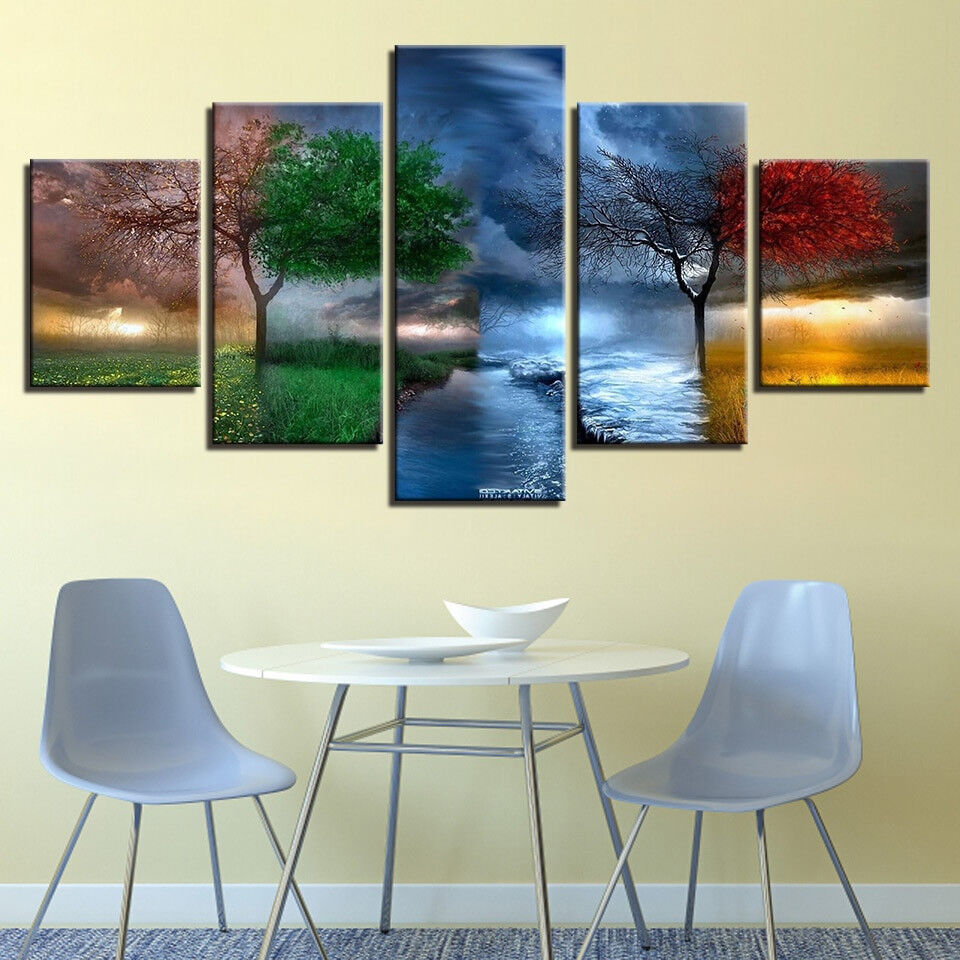 Farbeful Season Weather Tree 5 Panel Canvas Print Wall Art
