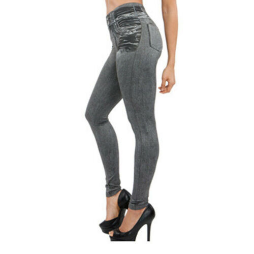 Leggins Pants Trousers Ladies High Waist Pencil Slim Faux Denim Jeans Skinny