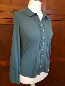 White-Stuff-Dark-Green-Pearly-Button-Blouse-Top-Size-10