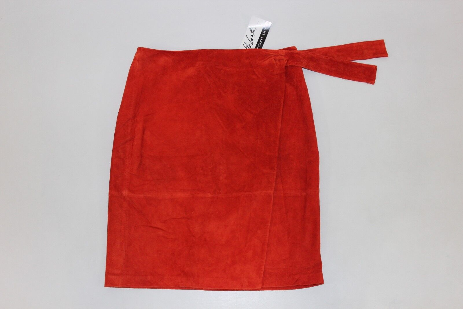 The Look Randolph Duke Womens 14 Red orange Soft Leather Suede Skirt Lined NEW